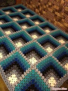 Crochet Square Blanket, Crochet Ripple, Granny Square Crochet Pattern, Crochet Diagram, Crochet Squares, Crochet Quilt, Crochet Motif, Crochet Bedspread Pattern, Afghan Crochet Patterns