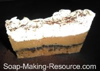 Coffee Soap - http://www.soap-making-resource.com/coffee-soap-recipe.html