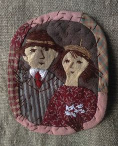 Elena Pintal. Portret. Brooches, Stitches, Collage, Sculpture, Fabric, Ideas, Dots, Tejido, Brooch