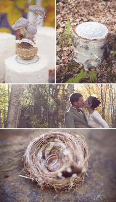 Touches of nature - I love the doily on the stump for flowers or a cake plate and the nest for the rings