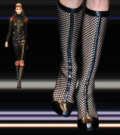 Versace Fishnet Boots Fall 2012