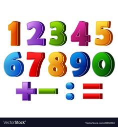 Colorful numbers and mathematical operations vector image on VectorStock Doodle Lettering, Third Way, Alphabet And Numbers, Single Image, Galaxy Wallpaper, Vector Free, Preschool, Web Design, Clip Art