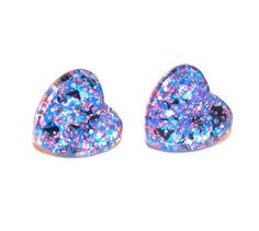 March Madness Glitter Heart Studs Hypoallergenic by CeliaCurrinArt, $6.99