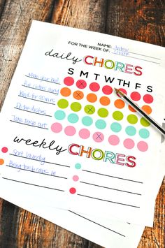 Printable Chore Chart - download these free versions to help with organization and teach kids the importance of hard work.