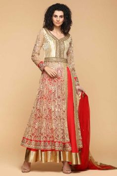 98e3592ba38 Beige And Candy Red Net Embroidered Anarkalii Suit. Andaaz Fashion Malaysia  · Raya EID Dresses 2018