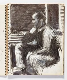 Diebenkorn, Crayon with ink wash, Page 037 from Sketchbook # 20 [seated man in interior]