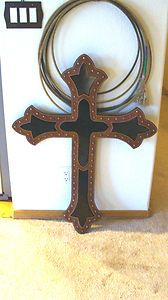Western Wall Decor Cowboy Cross Hanging Tooled Leather Art Religious Rodeo   eBay