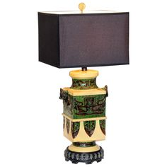 Large Italian Zaccagnini Pottery Ming Style Lamp | From a unique collection of antique and modern table lamps at https://www.1stdibs.com/furniture/lighting/table-lamps/