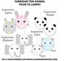DIY facile, tuto photos et fiches à imprimer pour une jolie décoration boule chinoise animaux (panda lapin chat éléphant hibou...) pour la chambre d'enfant