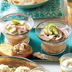 Black-Eyed Pea Pâté A touch of salty country ham and shiitake mushrooms adds deep flavor to this earthy, creamy Southern spread. You can make and chill the recipe up to 2 days ahead. For a finishing touch, top with Pickled Red Onions and Cukes. Best Party Appetizers, Holiday Appetizers, Easy Appetizer Recipes, Yummy Appetizers, Appetizer Dips, Holiday Parties, Holiday Recipes, Southern Living, A Food