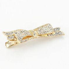 LC Lauren Conrad Gold Tone Simulated Crystal Bow Hair Clip
