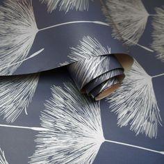 Glistening Fleur Wallpaper Navy / Silver Holden 12922 Silver And Navy Wallpaper, Blush Pink Wallpaper, Paper Wallpaper, Wallpaper Samples, Print Wallpaper, Black Wallpaper, Blue And Silver, Navy Blue, Wallpaper Companies