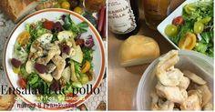Ensalada de pollo con tomatitos, queso scamorza, nueces y frambuesas
