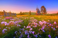 Meadow Pasture Hills Wildflowers Trees Spring Church Flowers Sunset Old Springtime Fence Beautiful Beach Desktop Wallpaper