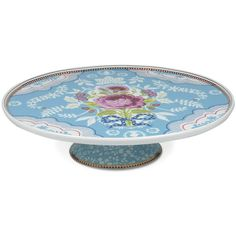 Pip Studio Floral Cake Stand - Blue ($54) ❤ liked on Polyvore featuring home, kitchen & dining, serveware, multi, pedestal cake plate, cake stand, pip studio, blue cake stands and cake-stand