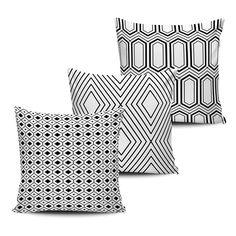 Conjuntos 3 Almofadas Decorativas Geométricas - Black 08