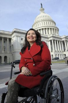 Tammy Duckworth is the first Asian-American woman elected to Congress in Illinois, the first disabled woman to be elected to the U.S. House of Representatives, and the first member of Congress born in Thailand. She is an Iraq War veteran who served as a U.S. Army helicopter pilot, losing both of her legs and damaging her right arm. She was the first female double amputee from the war. She still continues to serve as a Lt. Colonel in the Army National Guard.