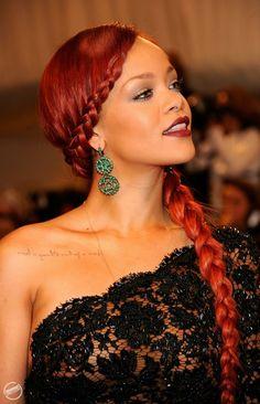Rihanna Red braided hair.