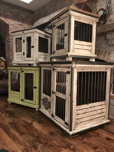 Handcrafted dog kennel and dog crate. Custom dog kennel. Wooden dog kennel. Wire crate. Den for dog. Www.kennelandcrat...