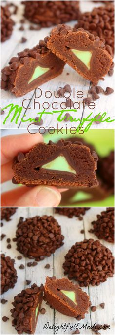 If you like chocolate and mint, you'll LOVE these! Super soft, fudgy cookies surround a mint truffle chocolate, and are topped with mini chocolate chips.