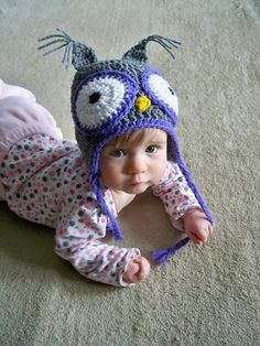 crochet owl baby or kid hat