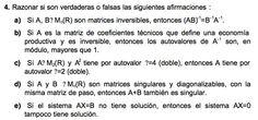 Ejercicio 4 del Examen de Matemática 2 (ADE, ULL). Diciembre 2004. Tema: Matrices