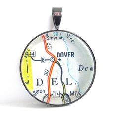 Road Map Pendant of Dover Delaware from by CarpeDiemHandmade, $10.00