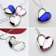Crystal heart shape usb flash