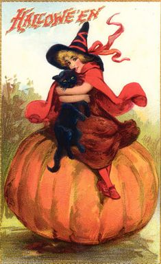 Old-fashioned Halloween postcard with a pretty witch, black cat, and pumpkin Halloween Chat Noir, Victorian Halloween, Vintage Halloween Images, Halloween Greetings, Retro Halloween, Halloween Pictures, Vintage Holiday, Holidays Halloween, Halloween Crafts