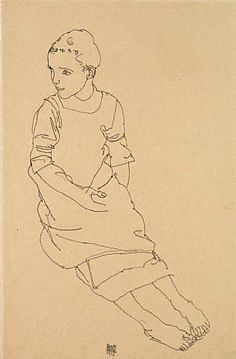 artnet Galleries: Seated Young Girl by Egon Schiele from Richard Nagy Ltd.