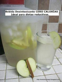 Agua para desintoxicar de Manzana y Canela ideal para dietas reductoras.