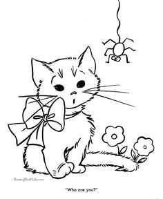 cat color pages printable printable free kitten coloring page