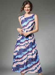 Fashion Sleeveless A-line Midi Party Dress