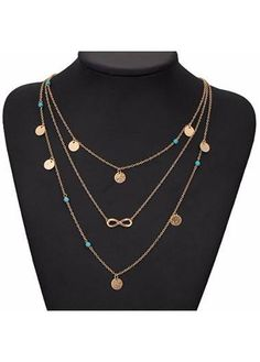 ModLily - unsigned Cyan Stone and Infinity Shape Pendant Necklace - AdoreWe.com