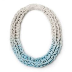 Yarn. Purls necklace (pastel blue) necklace by Saloukee. Knitted in thread-bound yarn, then hand-coloured.