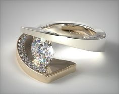 9006W14 |  Pave Diamond Twist Tension Set Engagement Ring | 14K White Gold and Yellow Gold  - Mobile