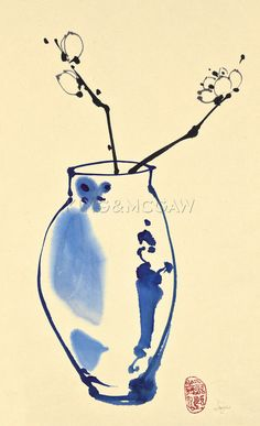 Orchids in a Blue Vase Art Print by Jane Dwight at King & McGaw