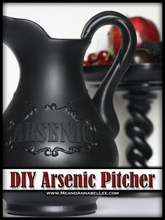 DIY Arsenic Drink Pitcher | Goth It Yourself | Poison | How to use Dimensional Paint Writer | Gothic Blog Post | www.MeandAnnabelLee.com - Blog for all things Dark, Gothic, Victorian, & Unusual