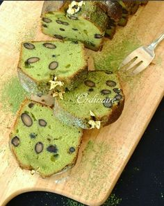 Matcha green tea pound cake, delicious French-styled recipe with kuromame, sweet black soybeans