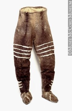 Pantalon: In the Arctic fur trousers are worn by men and women, although today more and more Inuit wear pants made of woven materials. Traditionally, men wore two layers of fur trousers in winter; women wore one since they did not usually go on long hunting forays in deepest cold. Even now, if planning a trip in winter, men will pack an extra set of furs.