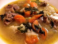 ΜΑΓΕΙΡΙΚΗ ΚΑΙ ΣΥΝΤΑΓΕΣ: Κρεατόσουπα πεντανόστιμη !!! Gazpacho, Greek Recipes, Dessert Recipes, Desserts, Pot Roast, Thai Red Curry, Stew, Food And Drink, Cooking