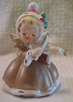VINTAGE CHRISTMAS ANGEL IN GOLD GOWN - HOLLY & VIOLIN - AGE ?   eBay