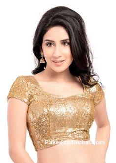 Latest Gold Sequin Saree Blouse Designs & patterns for Indian Women-PakeezaAnchal.com