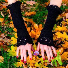 Black handmade cotton mittens fingerless crochet hand knitted sexy gloves #SuperTanya #Fingerless