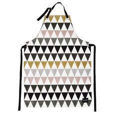 Organic cotton multi coloured Triangle Apron,  by Ferm Living with crisp geometric design , for those super stylish, particular & precise cooks amongst us.