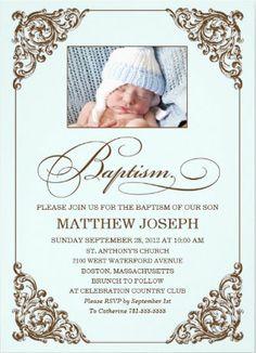 Classic, clean and elegant baptism invitation ...