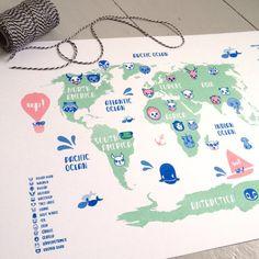 Animal World Kids Map by smalldotsdesign on Etsy