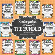 This BUNDLE includes 10 months of homework for Kindergarten. 4 weeks included in each month and homework is labeled Monday-Thursday.  Each week is consistent so students can work on it independently (helpful for parents).  Homework skills include:I can write my name.First Sound Fluency (at the beginning of the year) CVC Word Family PracticeHigh Frequency Word Practice CountingComposing Numbers 11-19Writing NumbersWord ProblemsComparing NumbersI have also included hundreds charts to print on…
