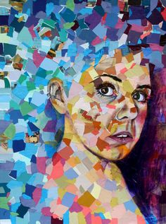Contemporary woman artist's collage self-portrait