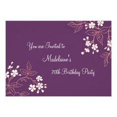 Plum C Fl 70th Birthday Party Invitations